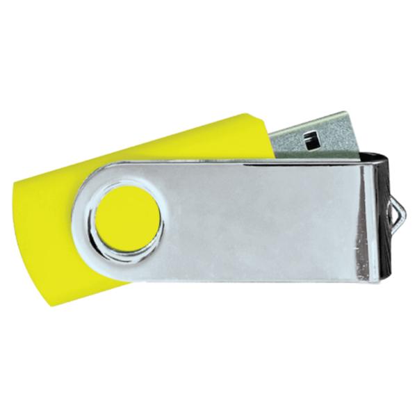 USB Flash Drives Mirror Shiny Silver Swivel - Yellow
