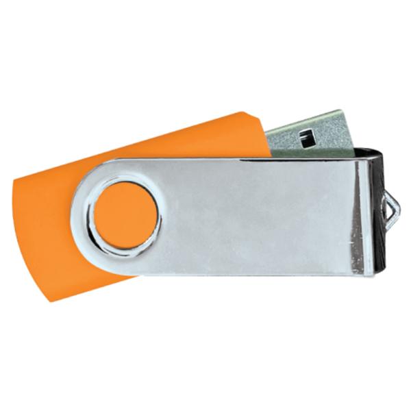 USB Flash Drives Mirror Shiny Silver Swivel - Orange