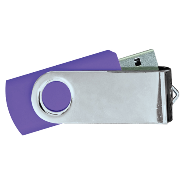 USB Flash Drives Mirror Shiny Silver Swivel - Purple