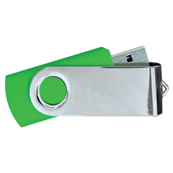 USB Flash Drives Mirror Shiny Silver Swivel - Green