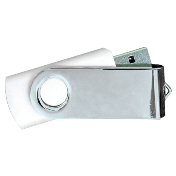 USB Flash Drives Mirror Shiny Silver Swivel - White