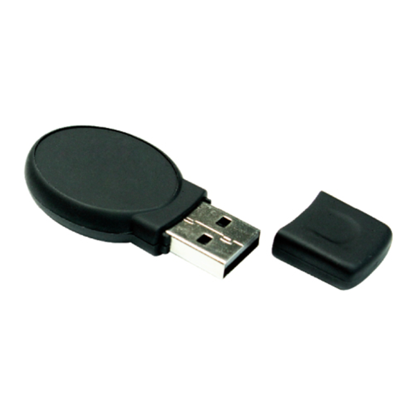 Oval Black Rubberized USB Flash Drives 8GB