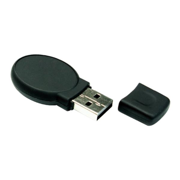 Oval Black Rubberized USB Flash Drives 16GB