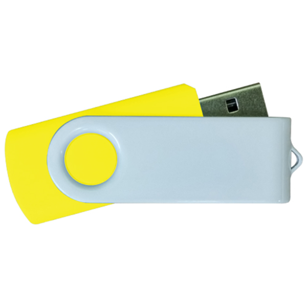USB Flash Drives - Yellow with White Swivel