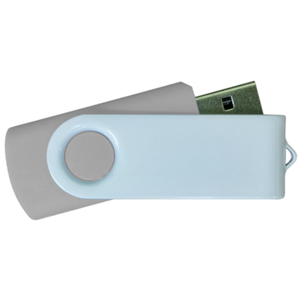 USB Flash Drives - Grey with White Swivel