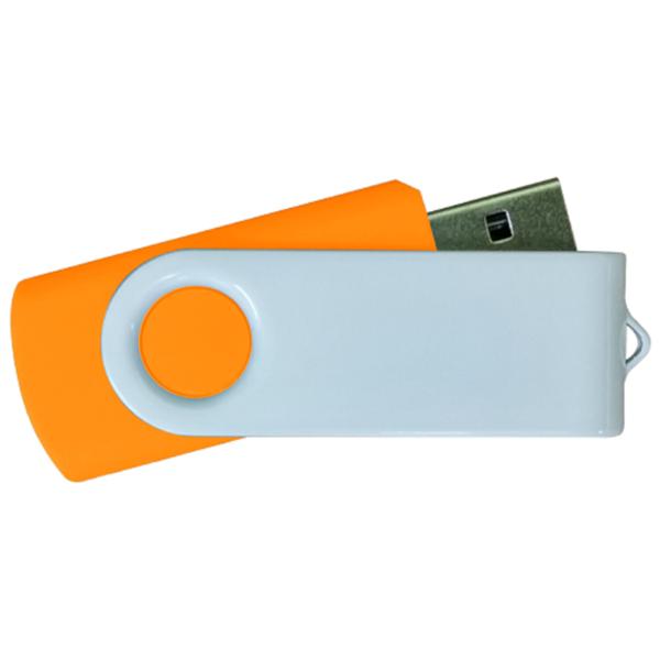USB Flash Drives - Orange with White Swivel