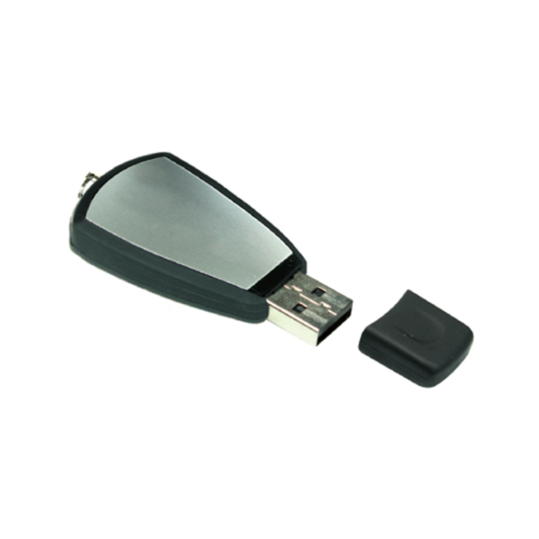 Black Rubberized USB Flash with Ring 4GB