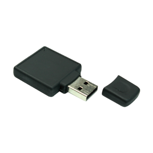 Square Black Rubberized USB Flash 4GB