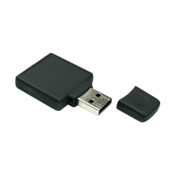 Square Black Rubberized USB Flash 8GB