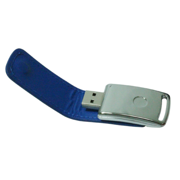 USB Flash Drives with Leather Cover 8GB - Blue