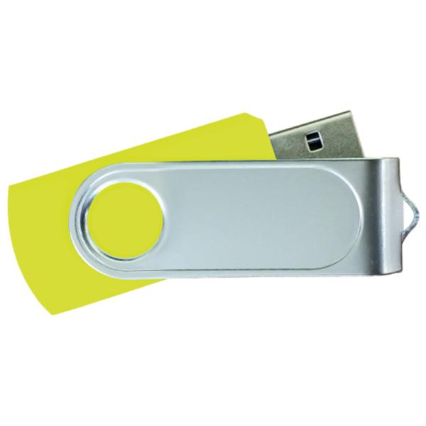 USB Flash Drives Swivel with 1 Side Epoxy Logo - Yellow