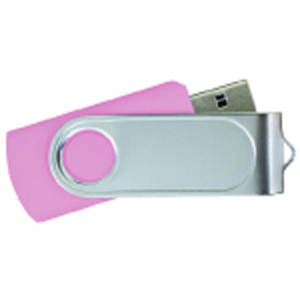 USB Flash Drives Swivel with 1 Side Epoxy Logo - Pink
