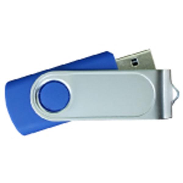 USB Flash Drives Swivel with 1 Side Epoxy Logo - Navy Blue