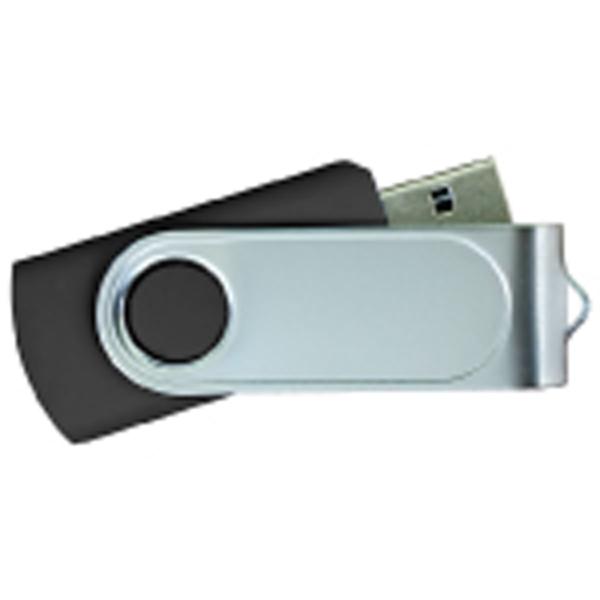 USB Flash Drives Swivel with 1 Side Epoxy Logo - Black