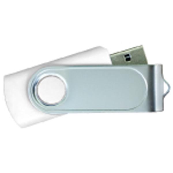 USB Flash Drives Swivel with 1 Side Epoxy Logo - White