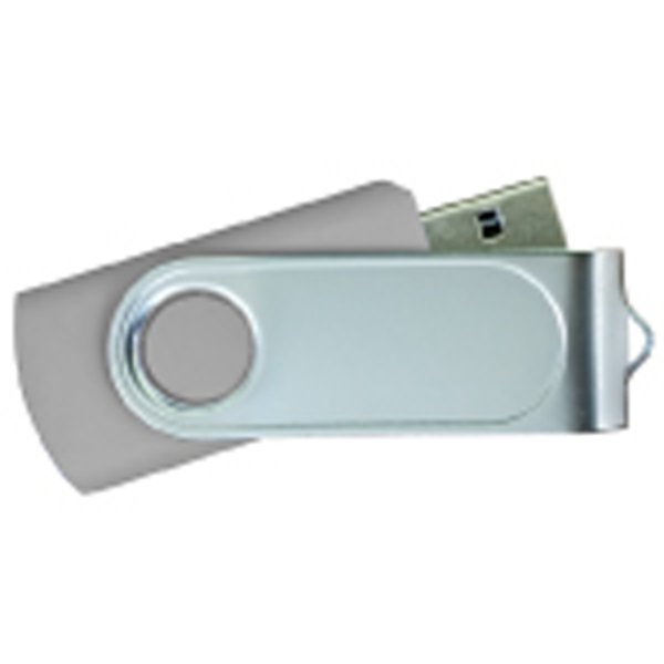 USB Flash Drives Swivel with 1 Side Epoxy Logo - Grey