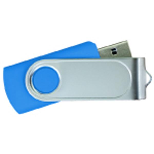 USB Flash Drives Swivel with 1 Side Epoxy Logo - Royal Blue