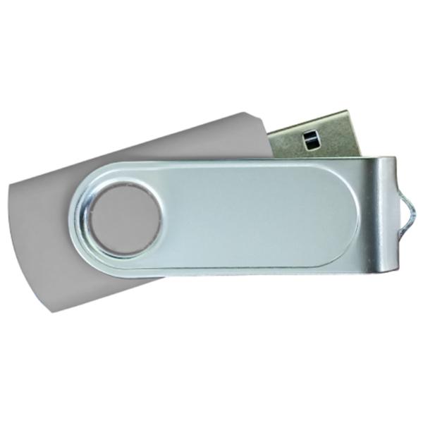 USB Flash Drives with 2 Sides Epoxy Logo - Grey
