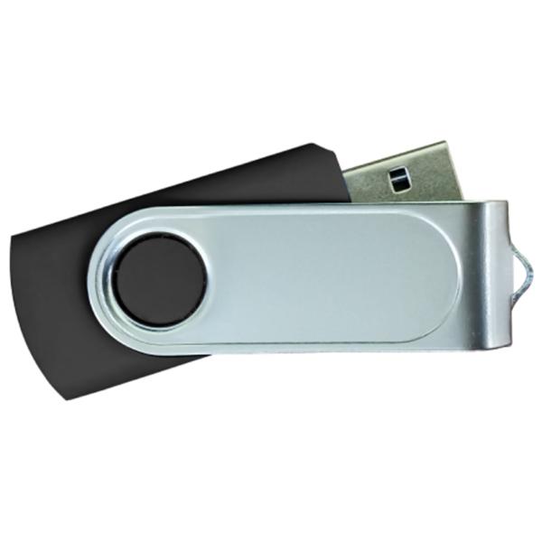 USB Flash Drives with 2 Sides Epoxy Logo - Black