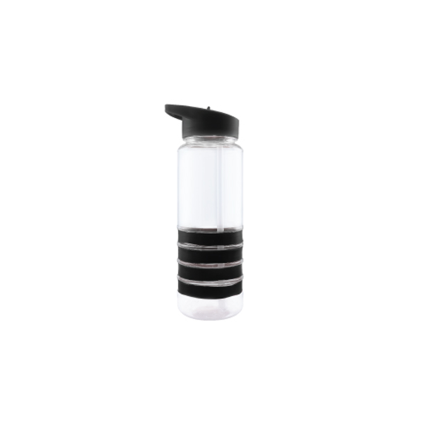Sports Water Bottle with Straw and Black Bands
