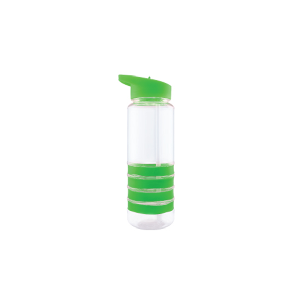 Sports Water Bottle with Straw and Green Bands