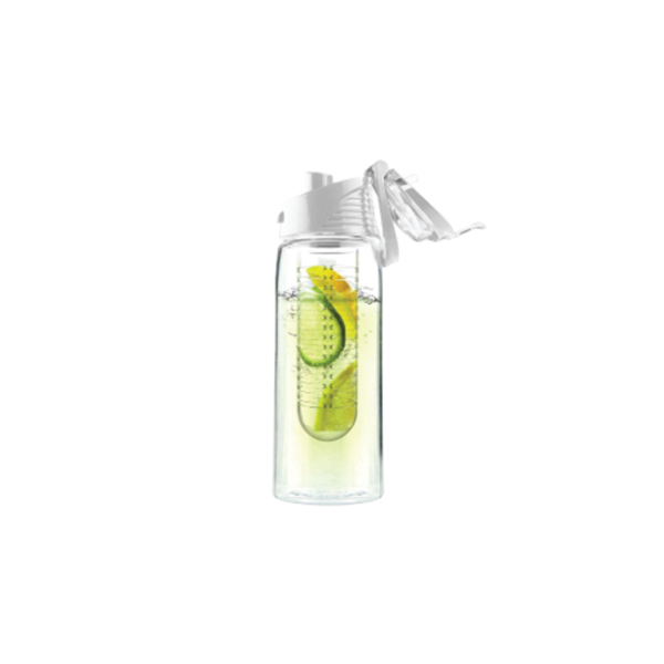 Water Bottle with Fruit Infuser - White