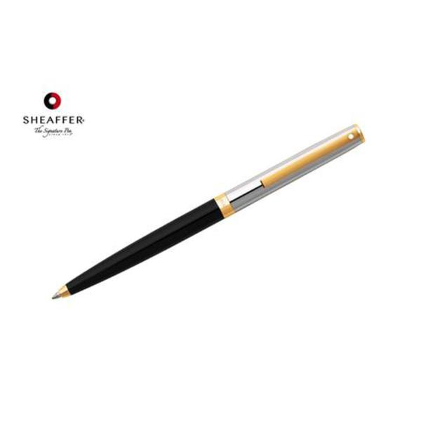 "Sagarisâ""¢ - Black and Chrome with Gold Trim Ballpoint Pen"