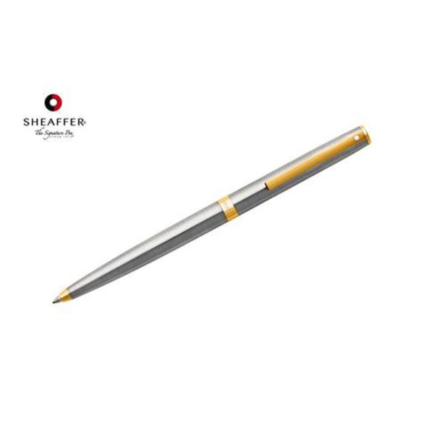 "Sagarisâ""¢ - Brushed Chrome with Gold Trim Ballpoint Pen"