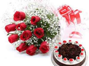 1/2kg Black Forest Cake & 12 Red Roses