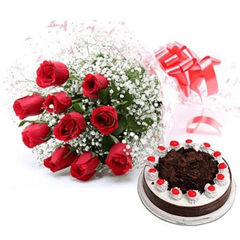 1/2kg Black Forest Cake & 12 Red Roses