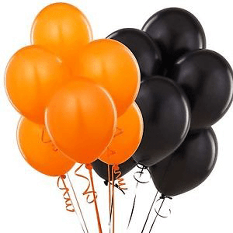 24 Black and Orange Balloon Bouquet