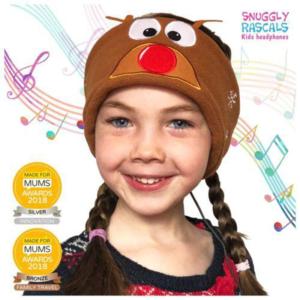 SNUGGLY RASCALS Ultra-Comfortable & Size Adjustable Headphones for Kids REINDEER Christmas Edition
