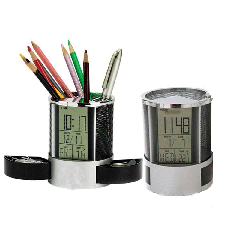 Desktop Pen holder with Digital Clock