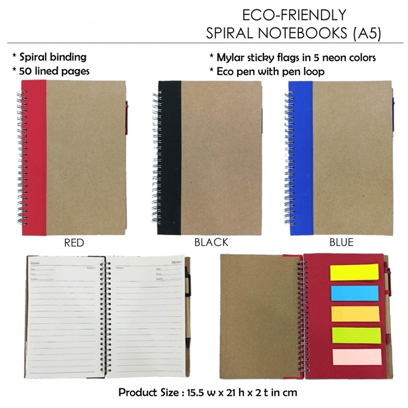 Eco Friendly Spiral Notebook with Sticky Notes