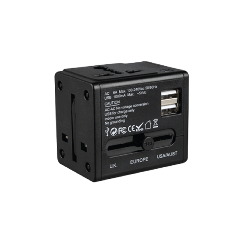 Universal Travel Adapter Black Color