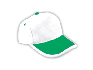 Cotton Caps White and Green Color