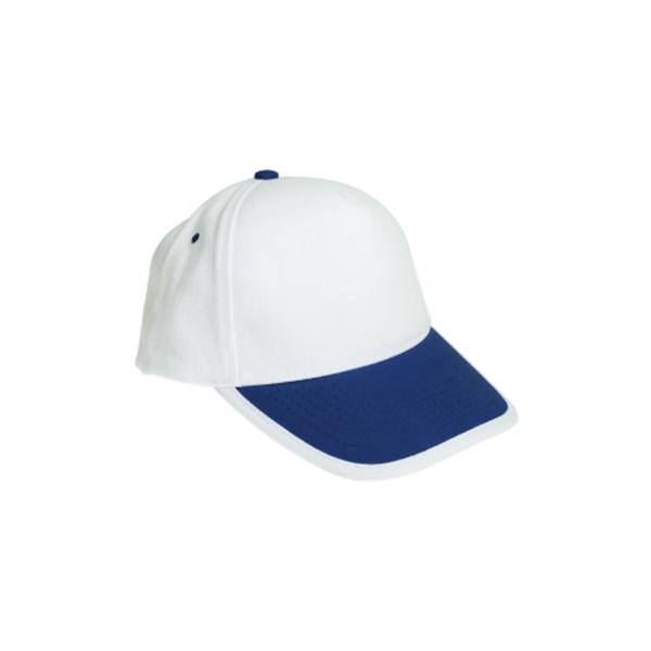 Cotton Caps White and Dark Blue Color