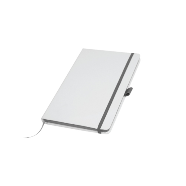 White Cover A5 PU Notebook with Grey Elastic Band