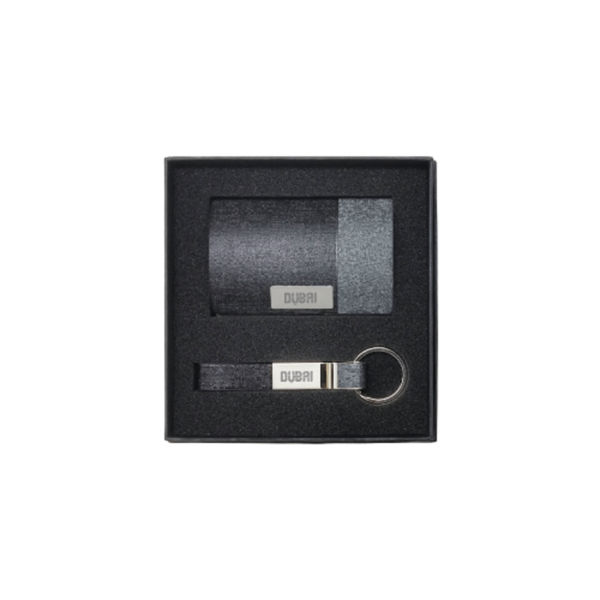 Business Card Holder with Leather Key chain Gift Set