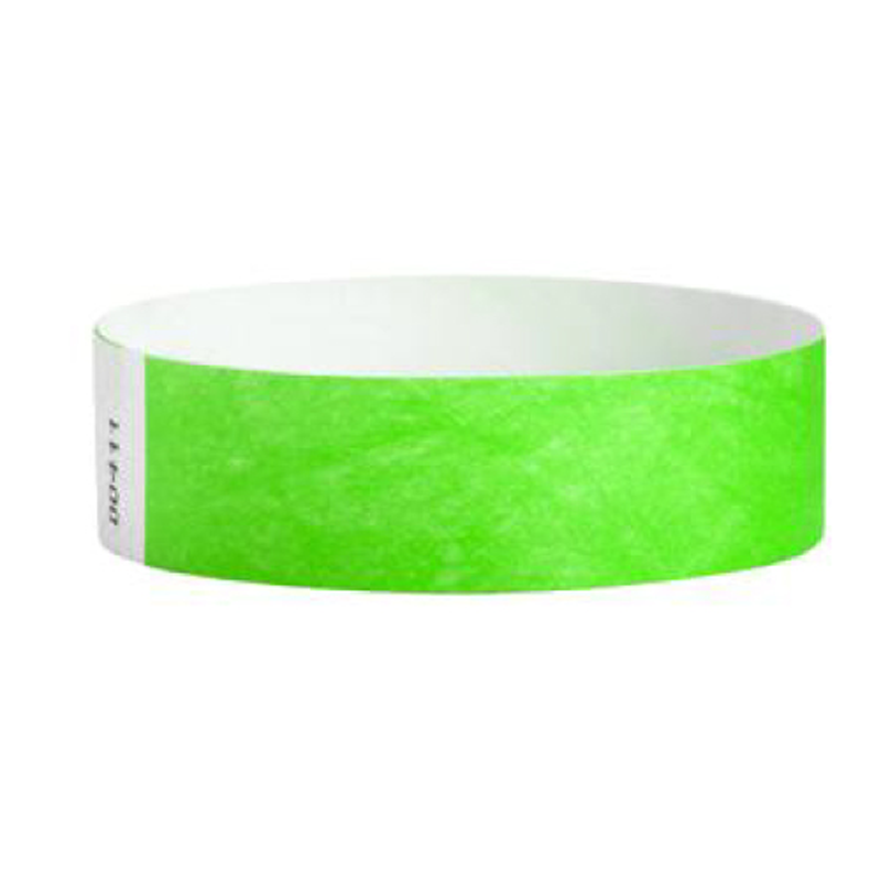 Tyvek Wristbands Neon Lime Color