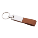 Metal Keychain with Brown Leather Strap