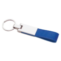 Metal Keychain with Blue Leather Strap