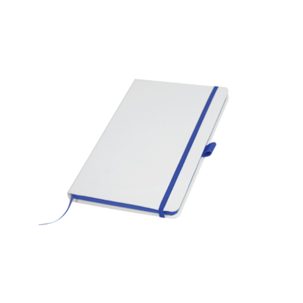 White Cover A5 PU Notebook with Blue Elastic Band