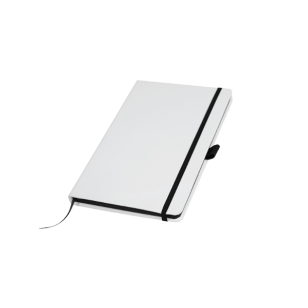 White Cover A5 PU Notebook with Black Elastic Band