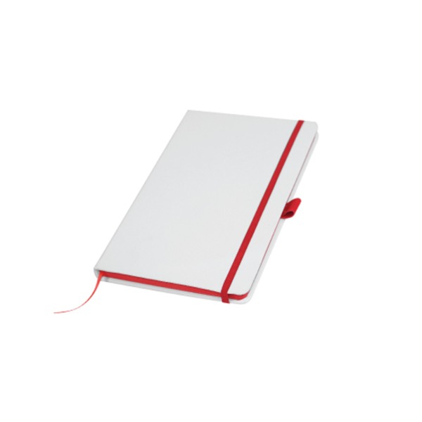 White Cover A5 PU Notebook with Red Elastic Band