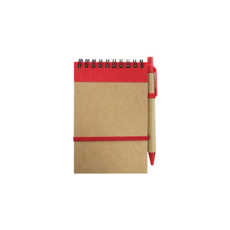 Recycled Notepad with Pen Red