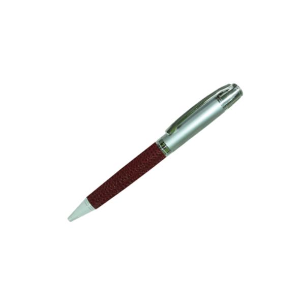 Leather Metal Pens - Maroon