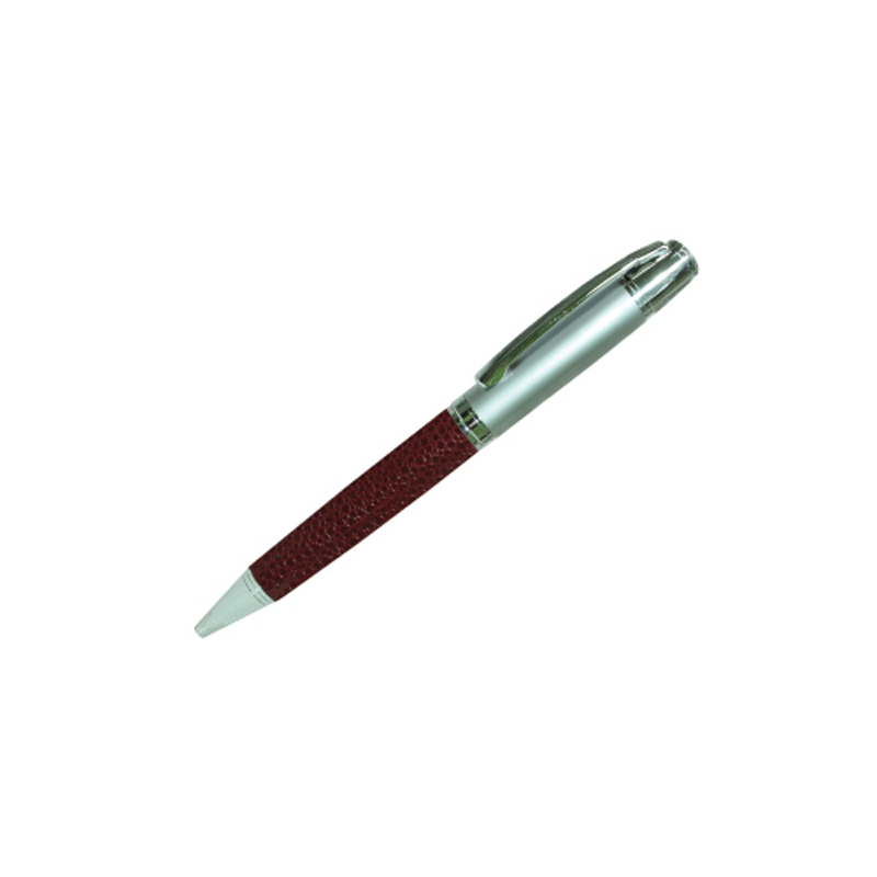Leather Metal Pens - Maroon