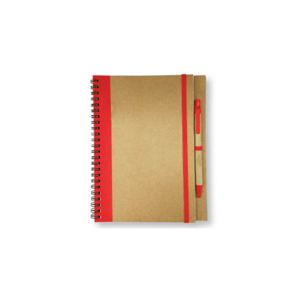 Recycled Notepad with Pen - Red