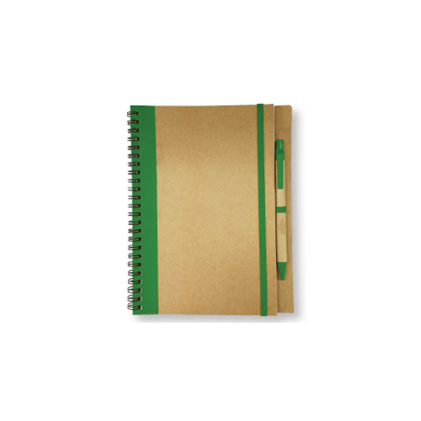 Recycled Notepad with Pen - Green